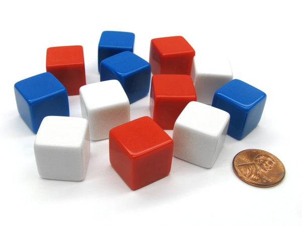 Set of 12 D6 16mm Blank Opaque Patriotic Dice - 4 Each of Red White and Blue