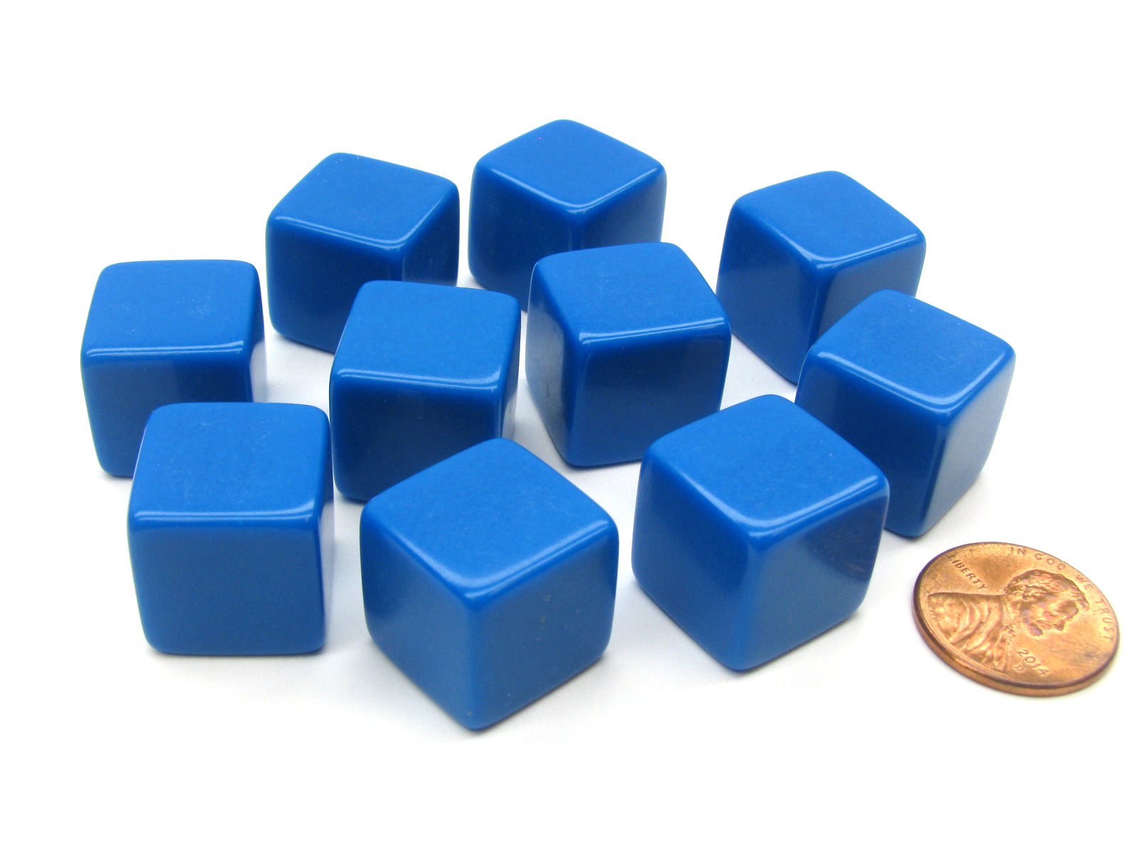 Set of 10 D6 16mm Blank Opaque Dice - Blue