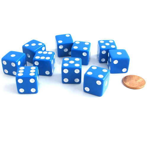 Set of 10 Six Sided Square Opaque 16mm D6 Dice - Blue with White Pip Die