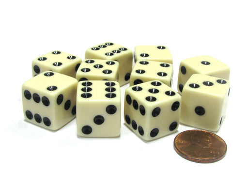 Set of 10 Six Sided Square Opaque 16mm D6 Dice - Ivory with Black Pip Die
