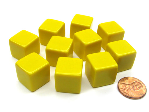Set of 10 D6 16mm Blank Opaque Dice - Yellow