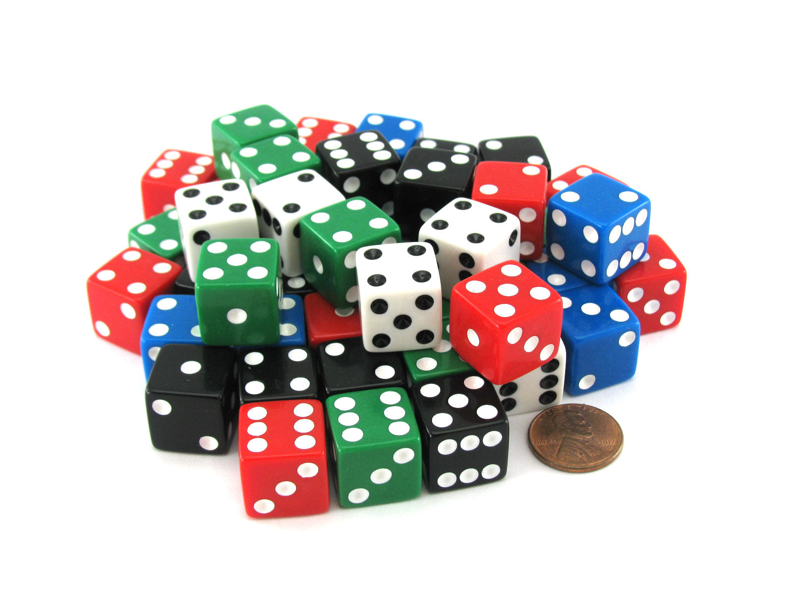 Set of 50 Six Sided Square Opaque 16mm D6 Dice - Red White Blue Green Black