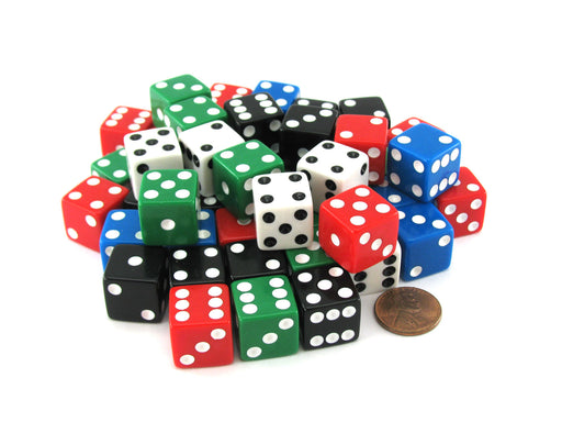Pack of 50 Six Sided Square Opaque 16mm D6 Dice - Red White Blue Green Black