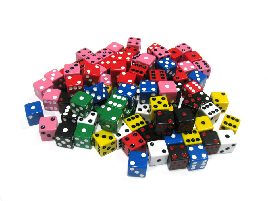 Set of 100 D6 16mm Assorted Dice-White Blue Green Yellow Pink(2) Black(2) Red(2)