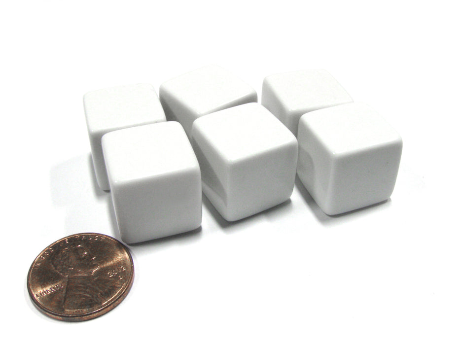 Set of 6 D6 16mm Blank Opaque Dice with Customizable Stickers - Solid White