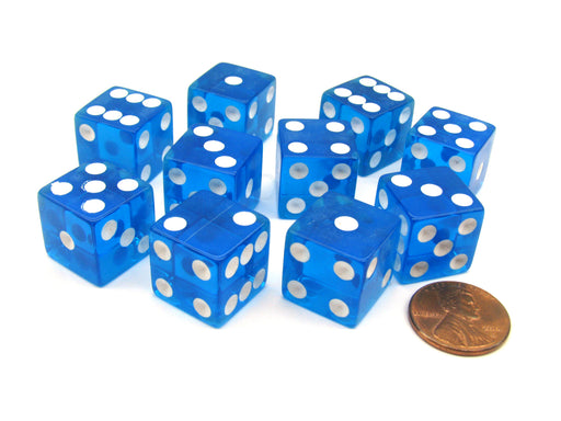 Pack of 10 16mm D6 Square Edge Transparent Dice - Blue with White Pips
