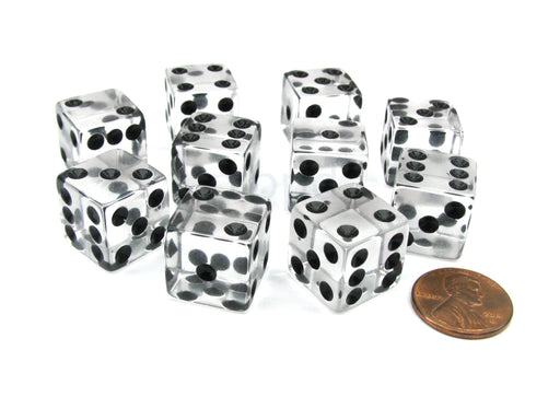 Pack of 10 16mm D6 Square Edge Transparent Dice - Clear with Black Pips