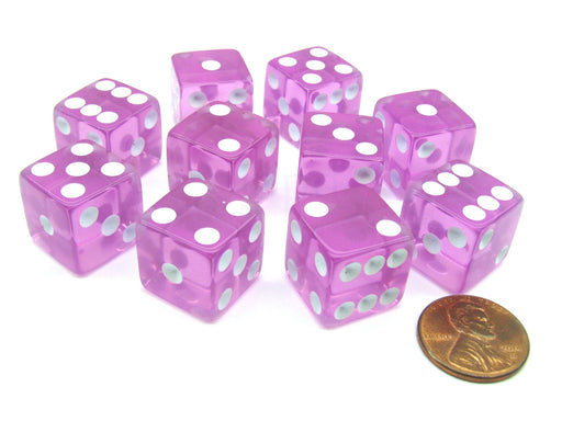 Pack of 10 16mm D6 Square Edge Transparent Dice - Pink with White Pips