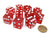 Pack of 10 16mm D6 Square Edge Transparent Dice - Red with White Pips