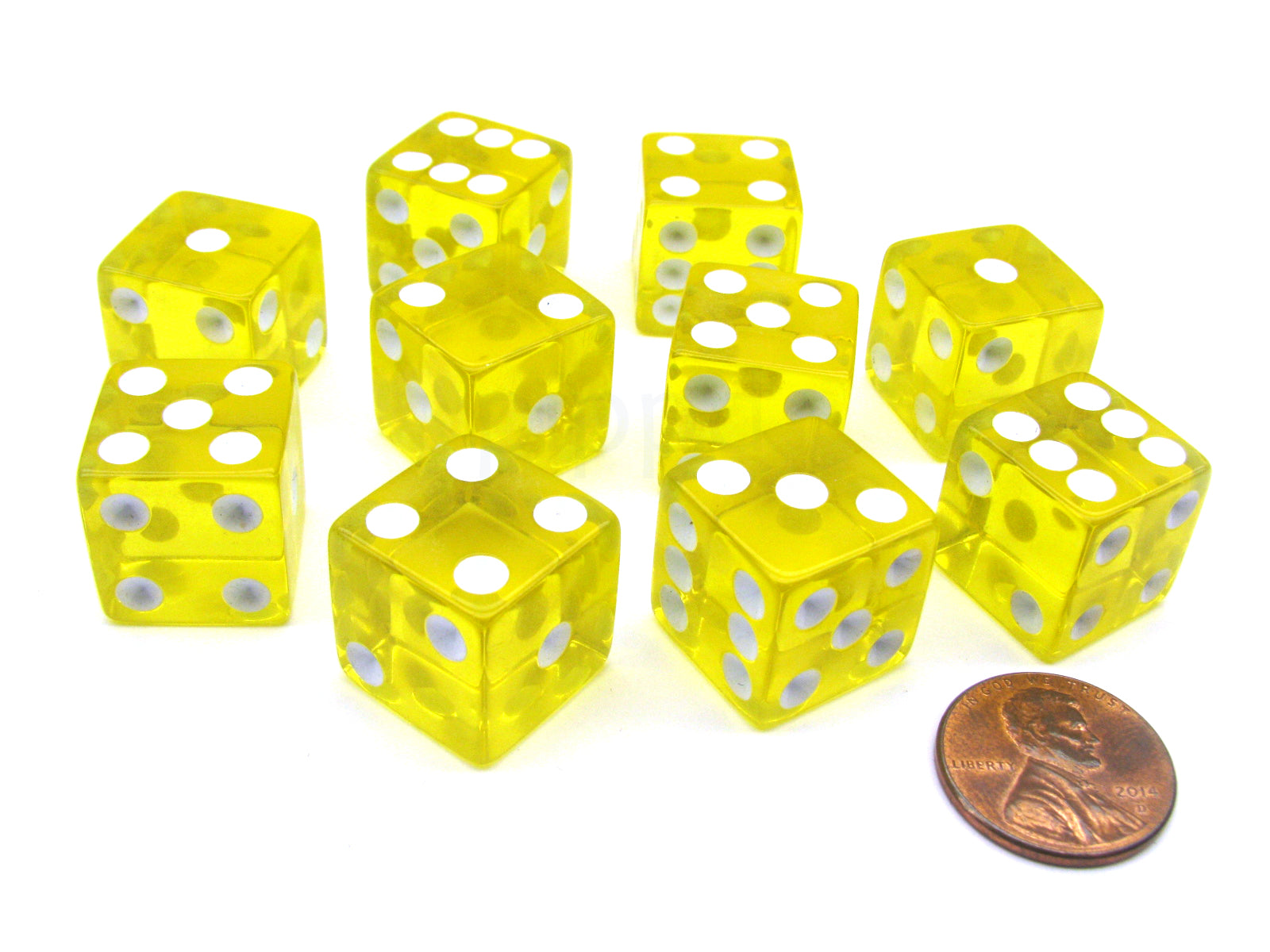Pack of 10 16mm D6 Square Edge Transparent Dice - Yellow with White Pips
