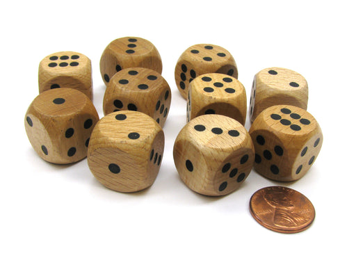 Set of 10 D6 Six Sided 18mm Rounded Corner Wooden Dice ~ Wood Dice