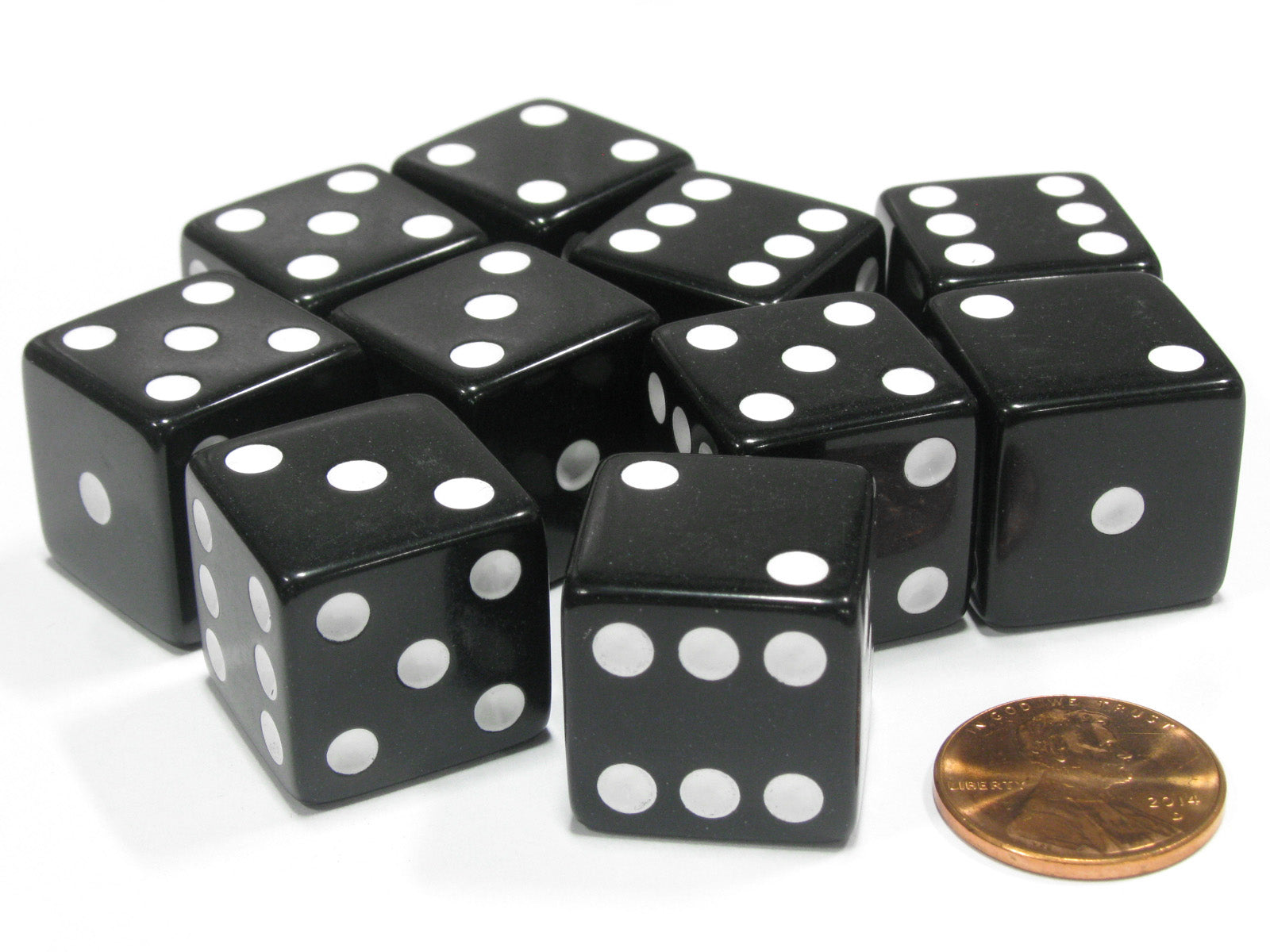 Set of 10 Large Six Sided Square Opaque 19mm D6 Dice Black with White Pip Die
