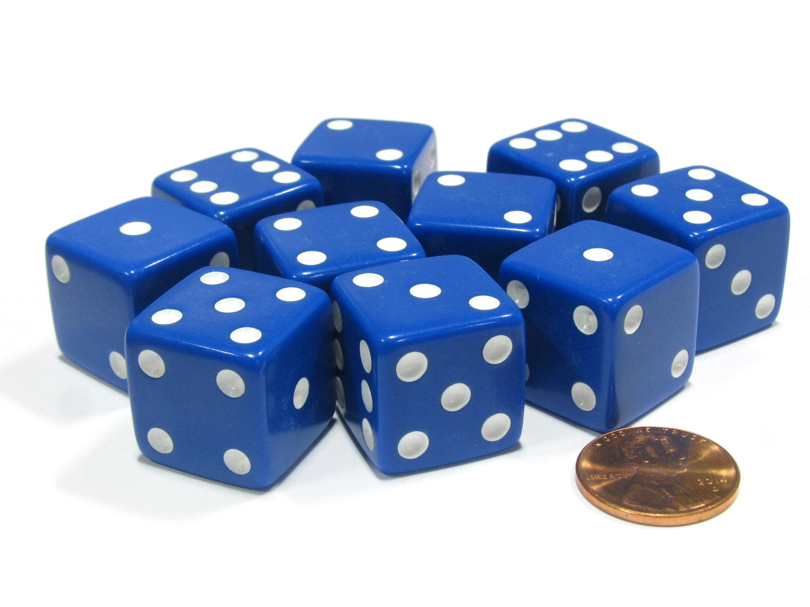 Set of 10 Large Six Sided Square Opaque 19mm D6 Dice - Blue with White Pip Die