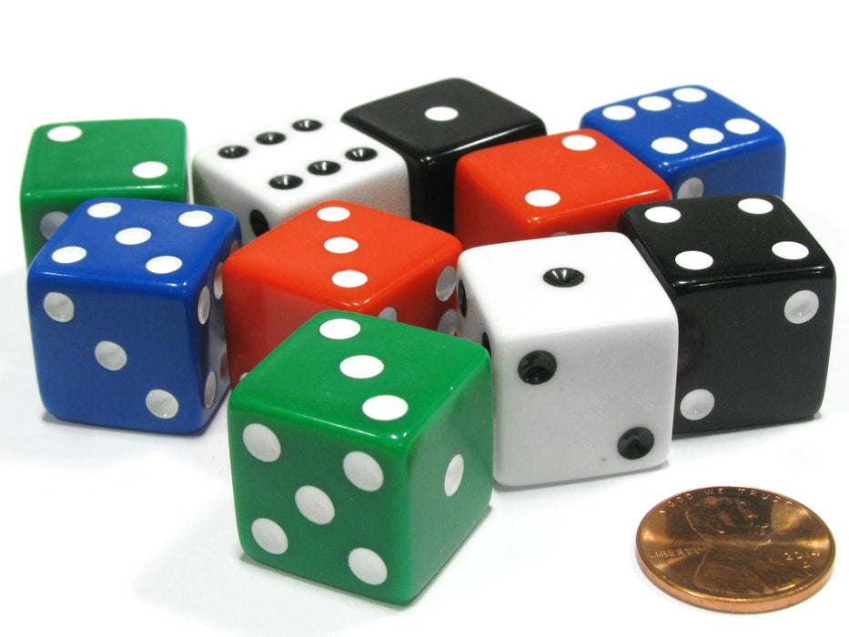 Set of 10 Jumbo Large Six Sided Square Opaque 25mm D6 Dice 5 Assorted Colors