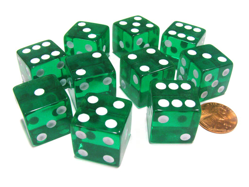 Set of 10 D6 Square Edged 19mm Dice - Transparent Green with White Pips