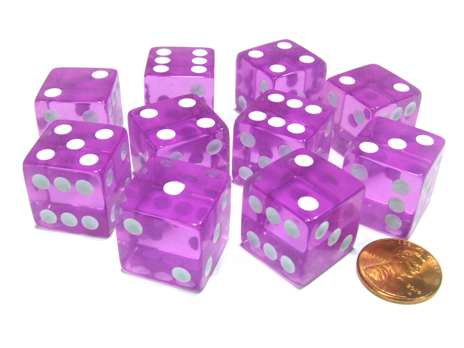 Set of 10 D6 Square Edged 19mm Dice - Transparent Pink with White Pips