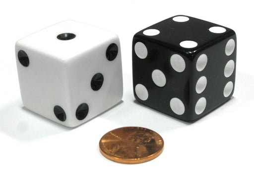 Set of 2 Inverse D6 25mm Large Opaque Jumbo Dice - 1 White and 1 Black
