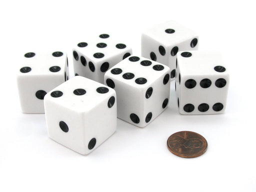 Set of 6 D6 25mm Large Opaque Jumbo Dice - White with Black Pip