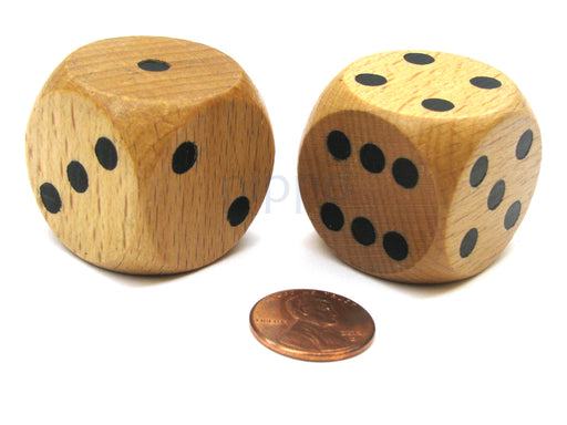 Set of 2 D6 Large Jumbo 30mm Rounded Wood Dice - Wooden with Black Pips