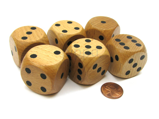 Set of 6 D6 Large Jumbo 30mm Rounded Wood Dice - Wooden with Black Pips