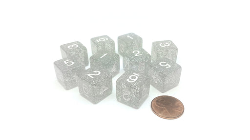 Pack of 10 D6 6 Sided 16mm Koplow Games Number Glitter Dice - Clear