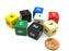 Pack of 8 16mm D6 Numbered Dice- Black (2) Blue Green Red White Yellow Ivory