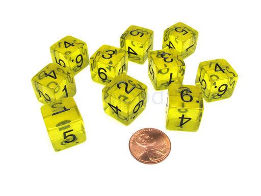 Pack of 10 Transparent 6-Sided D6 16mm Numbered Dice - Yellow