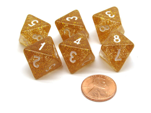 Pack of 6 D8 8-Sided Glitter Dice - Yellow with White Numbers