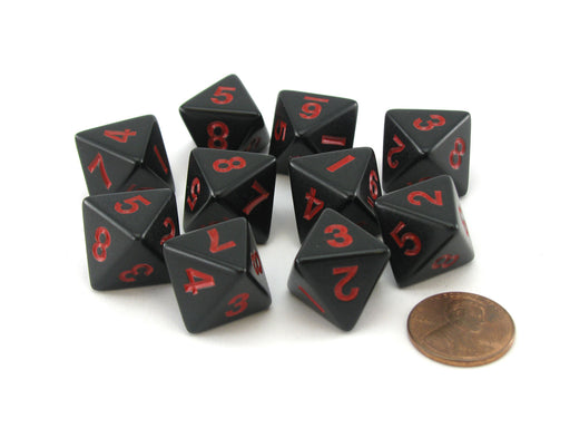 Pack of 10 D8 8-Sided 15mm Opaque Koplow Dice - Black with Red Numbers