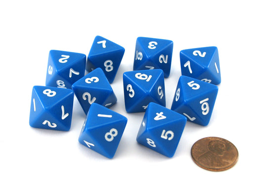 Pack of 10 D8 8-Sided 15mm Opaque Koplow Dice - Blue with White Numbers