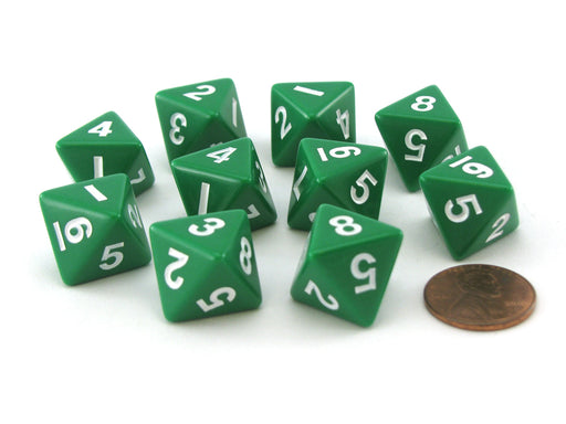 Pack of 10 D8 8-Sided 15mm Opaque Koplow Dice - Green with White Numbers