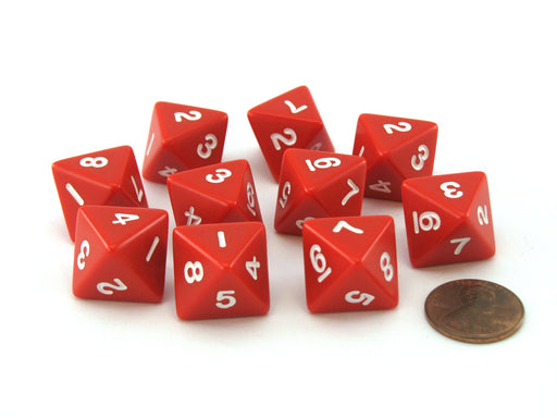 Pack of 10 D8 8-Sided 15mm Opaque Koplow Dice - Red with White Numbers