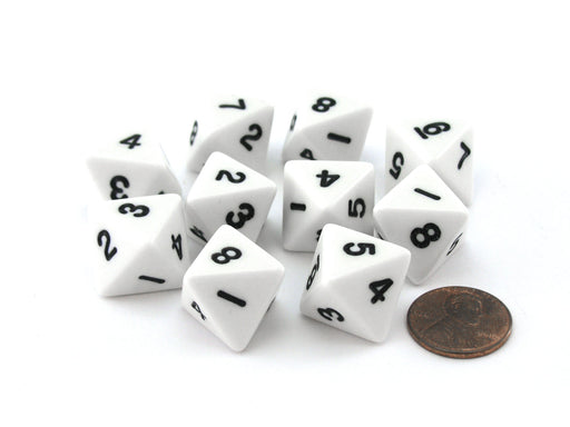 Pack of 10 D8 8-Sided 15mm Opaque Koplow Dice - White with Black Numbers