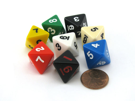 Pack of 8 D8 15mm Opaque Dice- Black (2), Blue, Green, Red, White, Yellow, Ivory