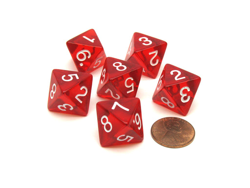 Pack of 6 D8 Transparent 8-Sided Dice - Red with White Numbers