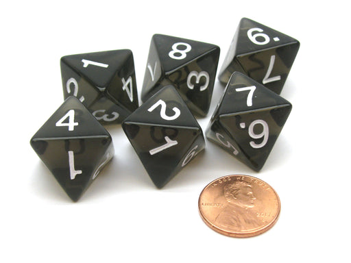 Pack of 6 D8 Transparent 8-Sided Dice - Smoke (Black) with White Numbers