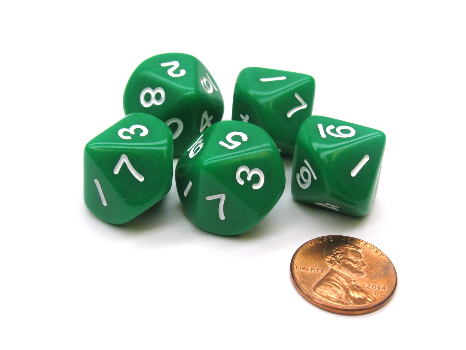 Set of 5 D10 10-Sided 16mm Opaque RPG Dice - Green with White Numbers
