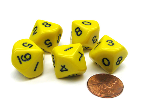 Set of 5 D10 10-Sided 16mm Opaque RPG Dice - Yellow with Black Numbers