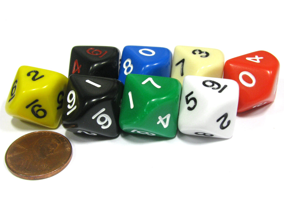 Set of 8 D10 10-Sided 16mm Opaque RPG Dice - Assortment of Colors