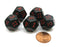 Set of 5 D12 12-Sided 18mm Opaque RPG Dice - Black with Red Numbers