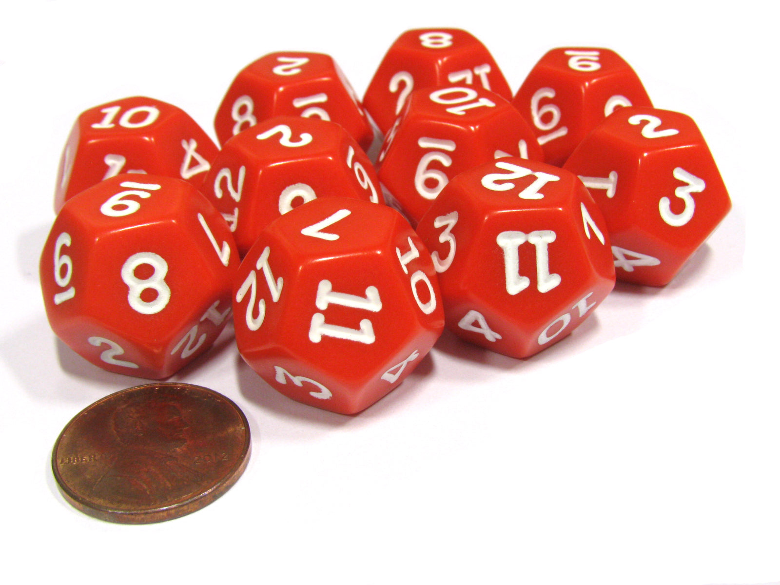 Set of 10 D12 12-Sided 18mm Opaque RPG Dice - Red with White Numbers