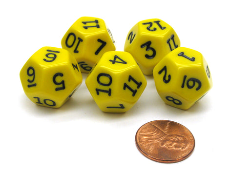 Set of 5 D12 12-Sided 18mm Opaque RPG Dice - Yellow with Black Numbers
