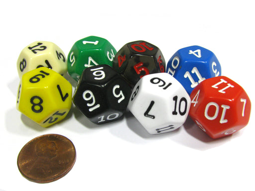 Set of 8 D12 12-Sided 18mm Opaque RPG Dice - Assortment of Colors