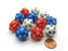 Set of 12 D20 19mm Patriotic Dice - 4 Each of Red White and Blue