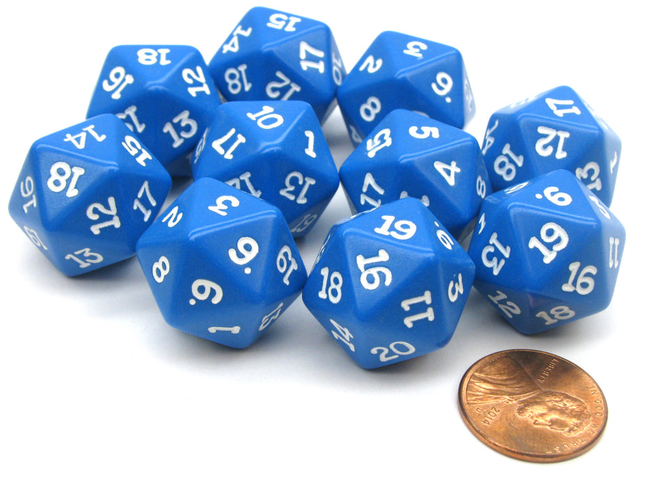 Set of 10 Twenty Sided 19mm D20 Opaque RPG Dice - Blue with White Numbers Die