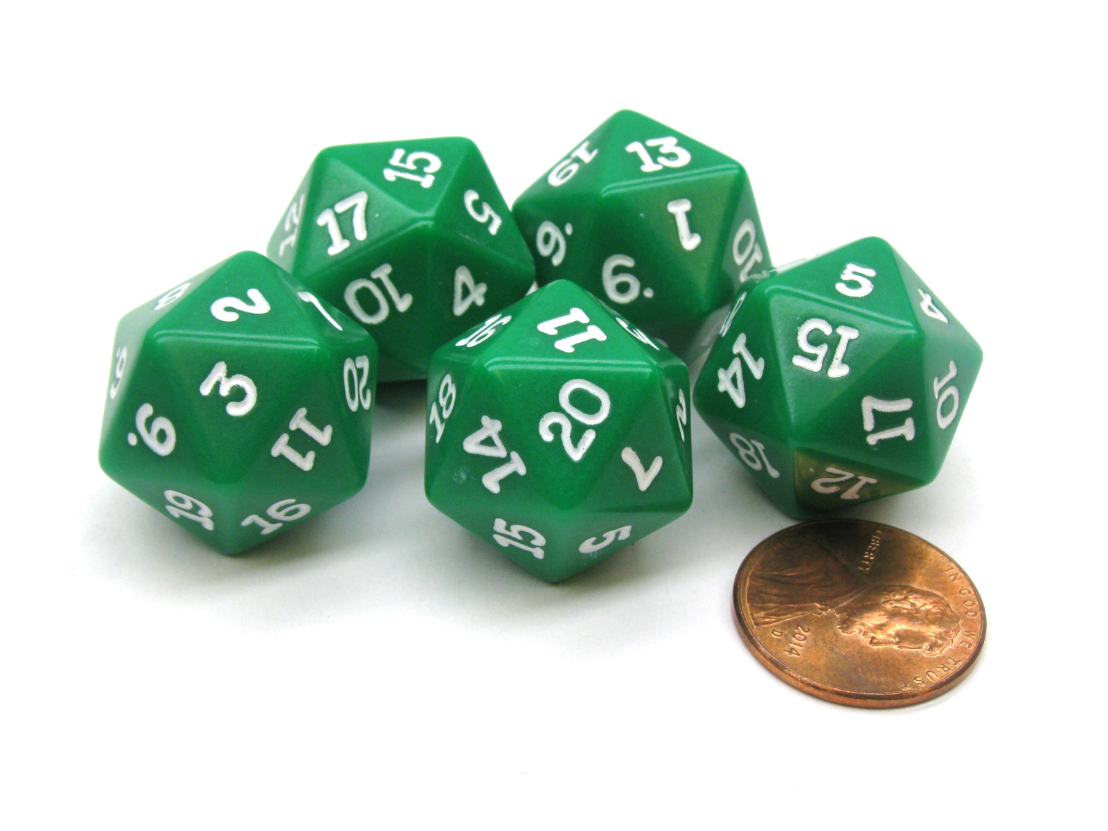 Set of 5 Twenty Sided 19mm D20 Opaque Dice RPG D&D Green with White Numbers Die