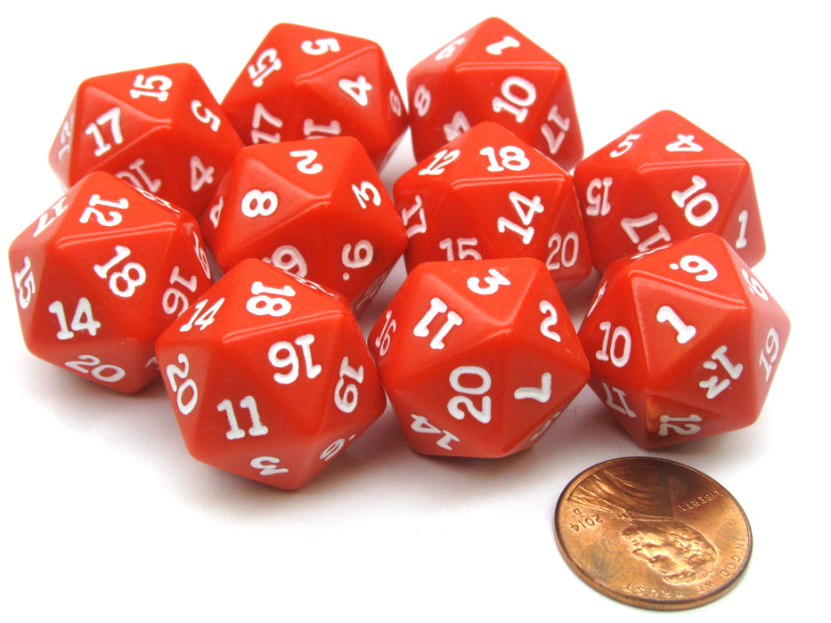 Set of 10 Twenty Sided 19mm D20 Opaque RPG Dice - Red with White Numbers Die