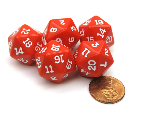 Set of 5 Twenty Sided 19mm D20 Opaque Dice RPG D&D Red with White Numbers Die