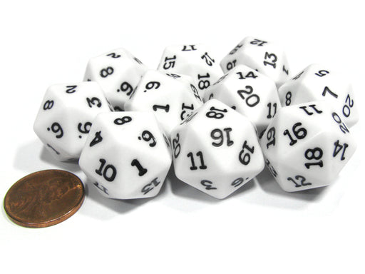 Set of 10 Twenty Sided 19mm D20 Opaque RPG Dice - White with Black Numbers Die