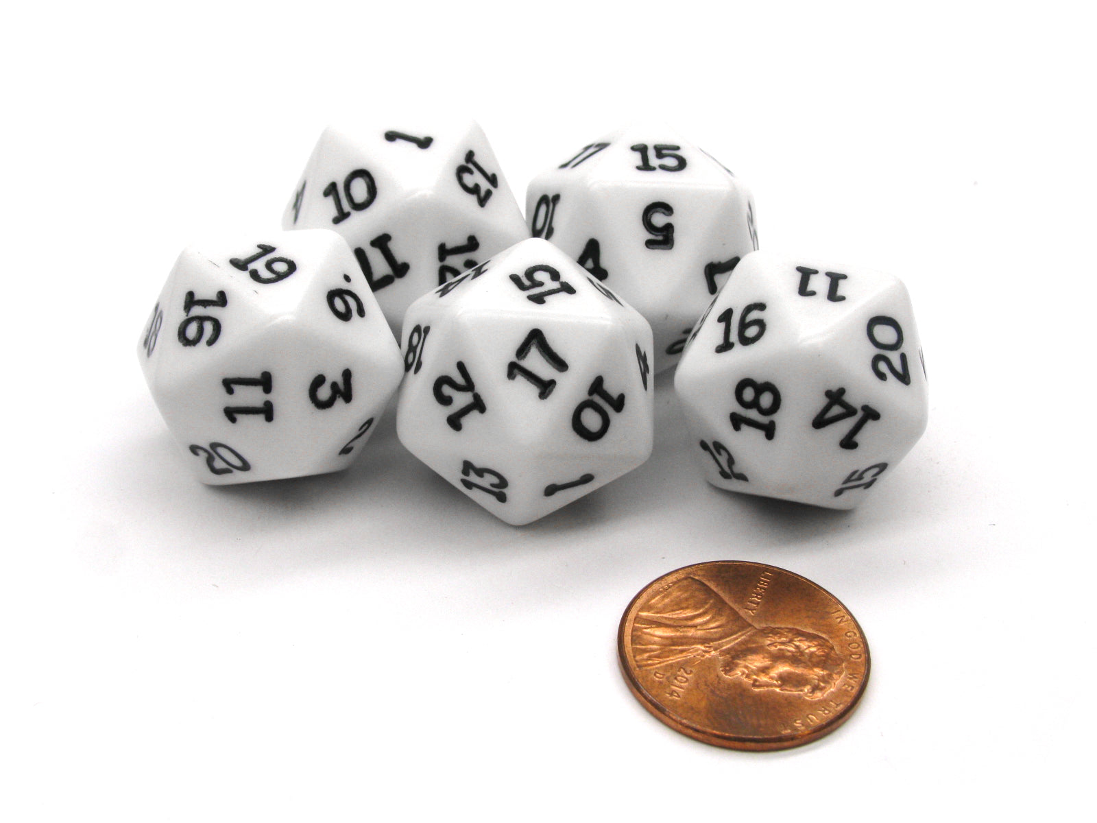 Set of 5 Twenty Sided 19mm D20 Opaque Dice RPG D&D White with Black Numbers Die
